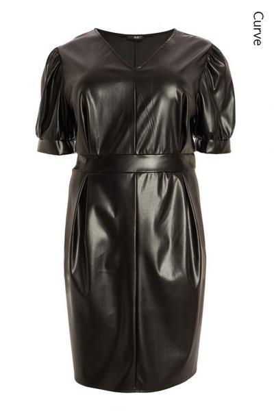 Curve Black Faux Leather Dress